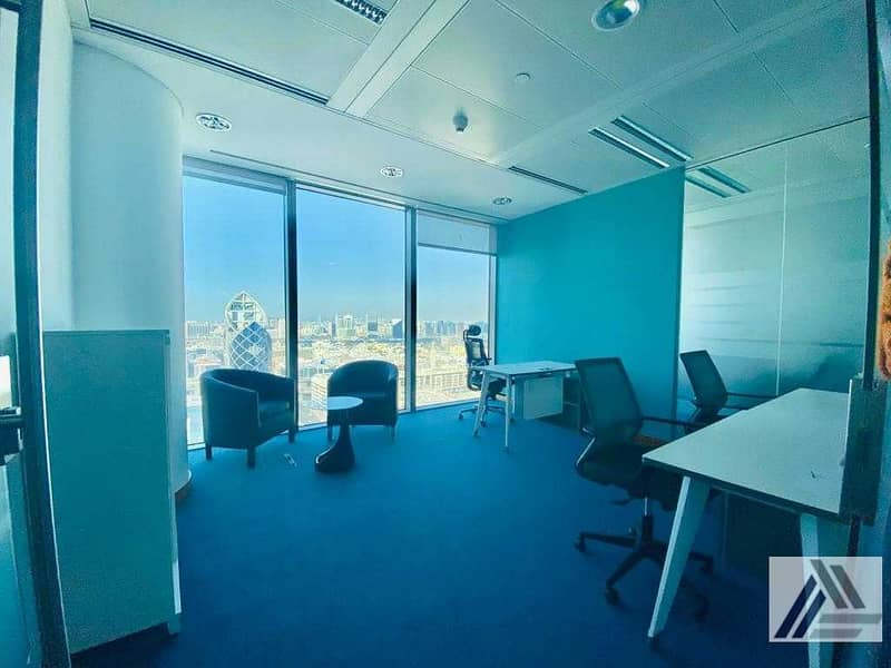 Amazing offer| Fully Furnished high view office at affordable price Dewa internet free | Linked with Mall and Metro