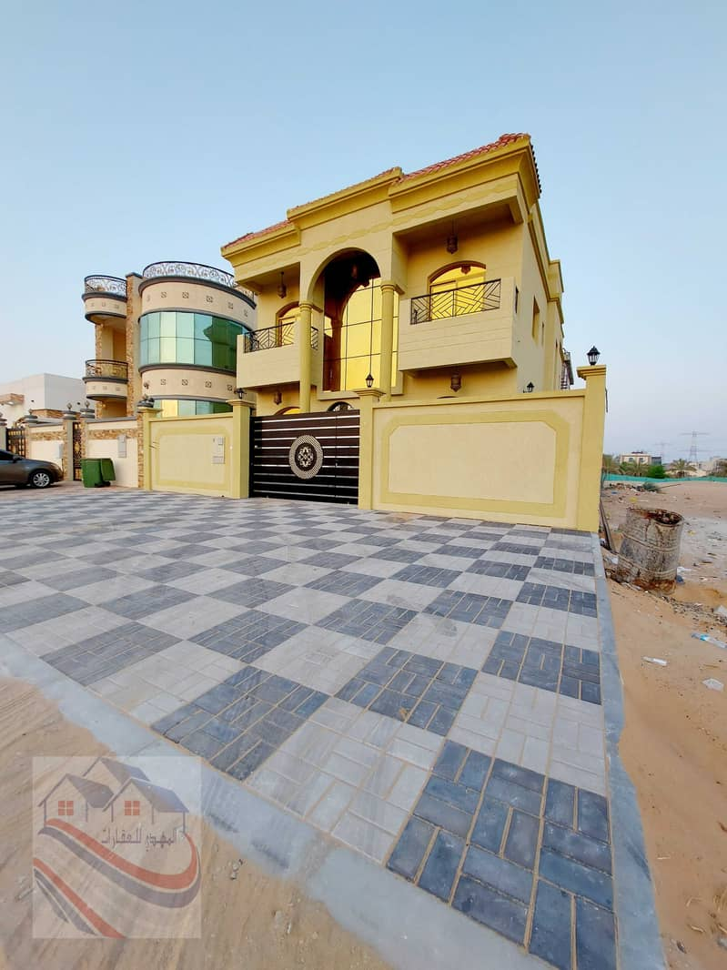 An elegant villa for sale in Jasmine, Ajman, a large area, the first inhabitant, with bank facilities, freehold for life