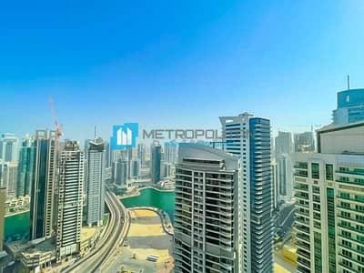 فلیٹ 1 غرفة نوم للايجار في دبي مارينا، دبي - Sea and Marina View| High Floor| Ready to Move In