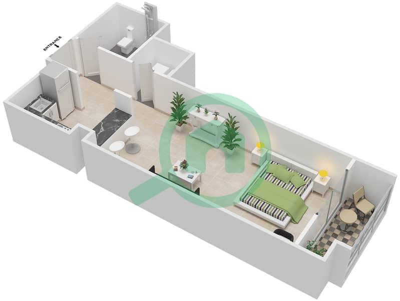 المخططات الطابقية لتصميم الوحدة 114-314 شقة  - لا ريزيدينس Floor 1 interactive3D