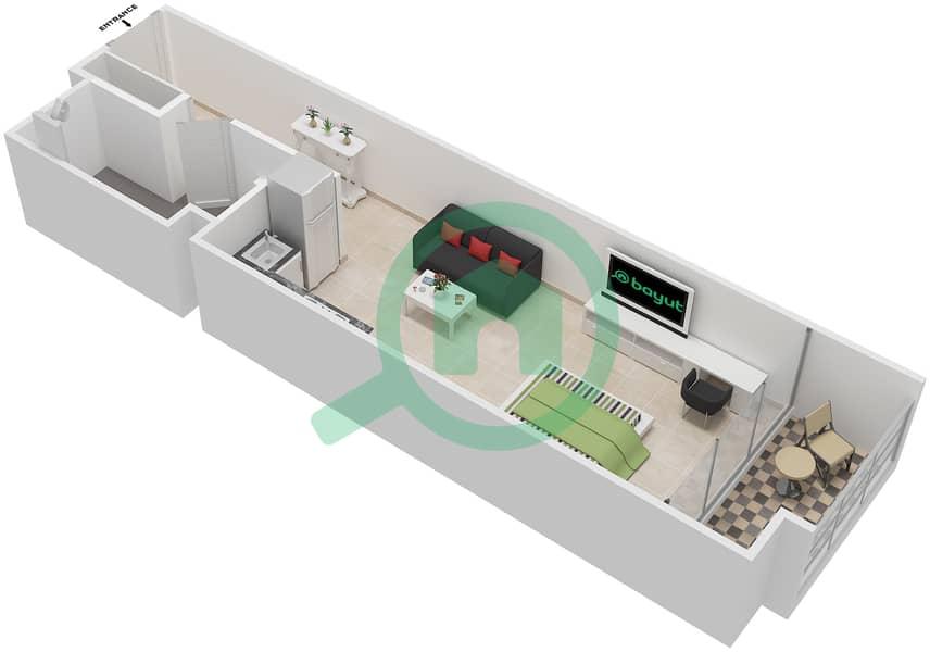المخططات الطابقية لتصميم الوحدة 118-318 شقة  - لا ريزيدينس Floor 1 interactive3D