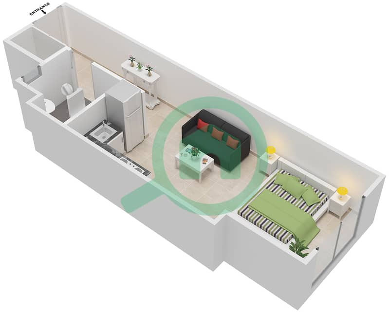 المخططات الطابقية لتصميم الوحدة 7 شقة  - لا ريزيدينس Ground Floor interactive3D