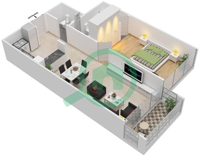 المخططات الطابقية لتصميم الوحدة 101-301 شقة 1 غرفة نوم - لا ريزيدينس Floor 1 interactive3D