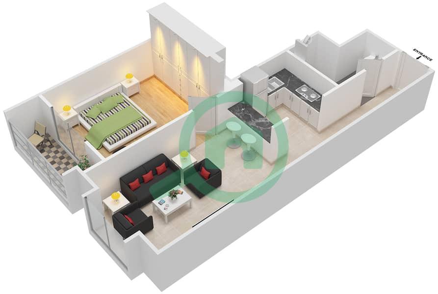المخططات الطابقية لتصميم الوحدة 409 شقة 1 غرفة نوم - لا ريزيدينس Floor 4 interactive3D