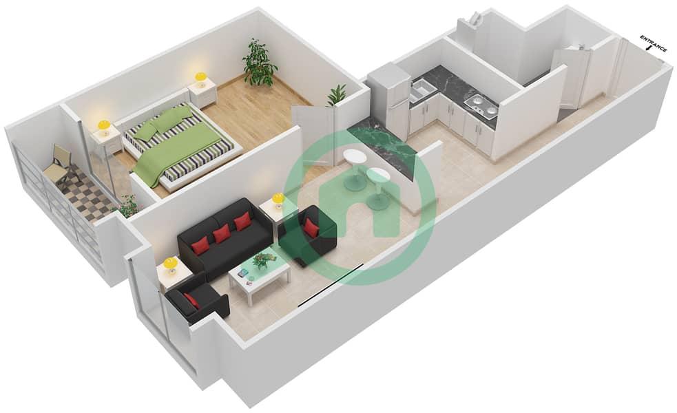 المخططات الطابقية لتصميم الوحدة 113-313 شقة 1 غرفة نوم - لا ريزيدينس Floor 1 interactive3D