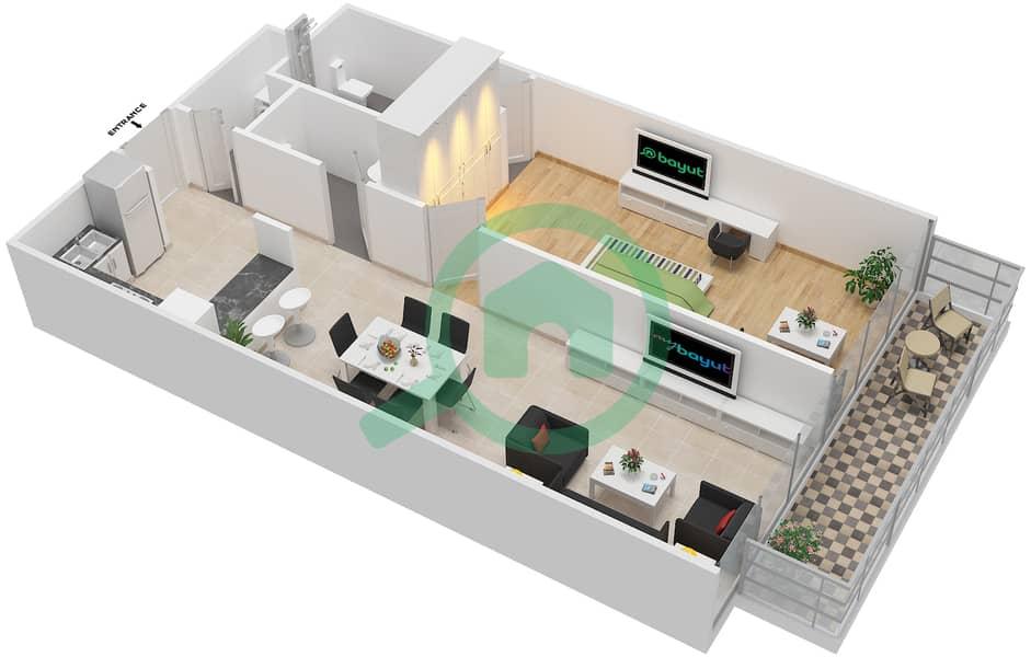 المخططات الطابقية لتصميم الوحدة 103-303 شقة 1 غرفة نوم - لا ريزيدينس Floor 1 interactive3D
