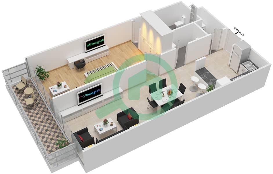 المخططات الطابقية لتصميم الوحدة 106-306 شقة 1 غرفة نوم - لا ريزيدينس Floor 1 interactive3D
