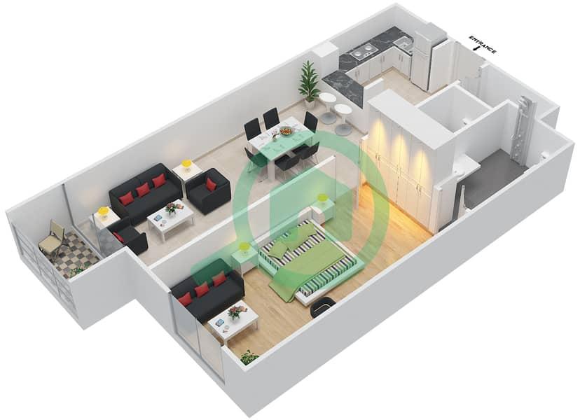 المخططات الطابقية لتصميم الوحدة 107-307 شقة 1 غرفة نوم - لا ريزيدينس Floor 1 interactive3D