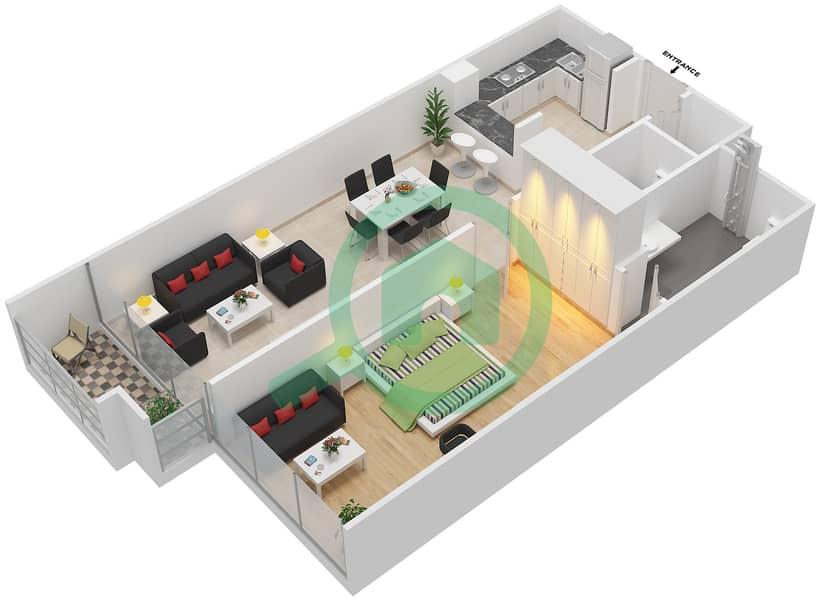 المخططات الطابقية لتصميم الوحدة 105-305 شقة 1 غرفة نوم - لا ريزيدينس Floor 1 interactive3D