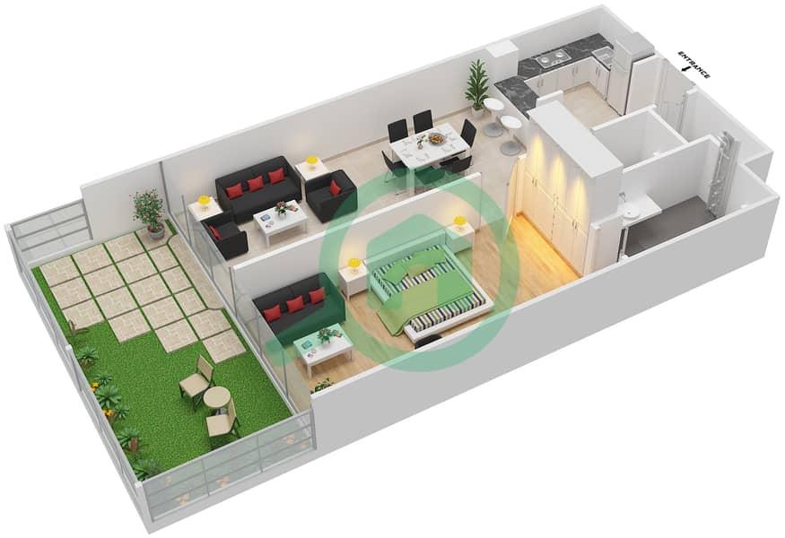 المخططات الطابقية لتصميم الوحدة 1 شقة 1 غرفة نوم - لا ريزيدينس Ground Floor interactive3D