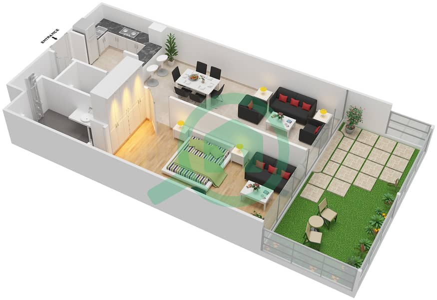 المخططات الطابقية لتصميم الوحدة 2 شقة 1 غرفة نوم - لا ريزيدينس Ground Floor interactive3D