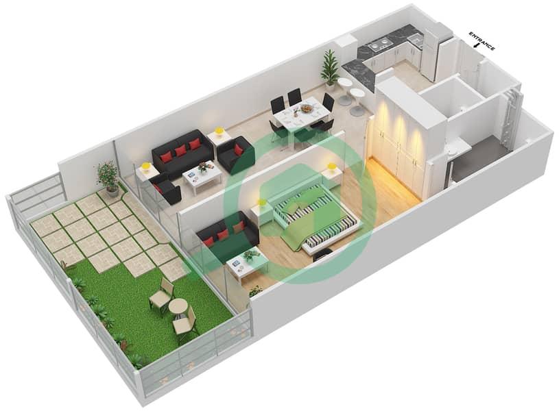 المخططات الطابقية لتصميم الوحدة 3 شقة 1 غرفة نوم - لا ريزيدينس Ground Floor interactive3D