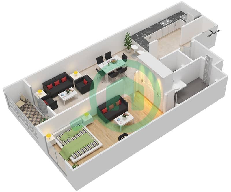 المخططات الطابقية لتصميم الوحدة 108-308 شقة 1 غرفة نوم - لا ريزيدينس Floor 1 interactive3D