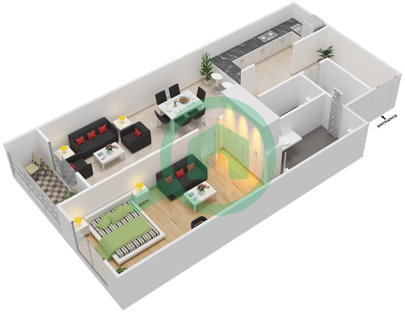 المخططات الطابقية لتصميم الوحدة 405 شقة 1 غرفة نوم - لا ريزيدينس Floor 4 interactive3D