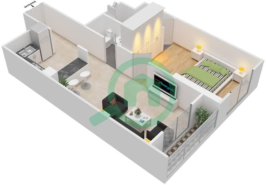 المخططات الطابقية لتصميم الوحدة 407 شقة 1 غرفة نوم - لا ريزيدينس Floor 4 interactive3D