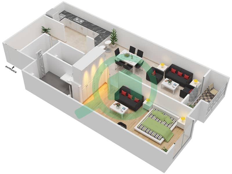 المخططات الطابقية لتصميم الوحدة 411 شقة 1 غرفة نوم - لا ريزيدينس Floor 4 interactive3D