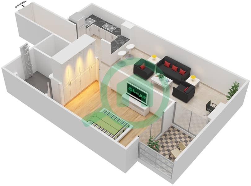 المخططات الطابقية لتصميم الوحدة 408 شقة 1 غرفة نوم - لا ريزيدينس Floor 4 interactive3D