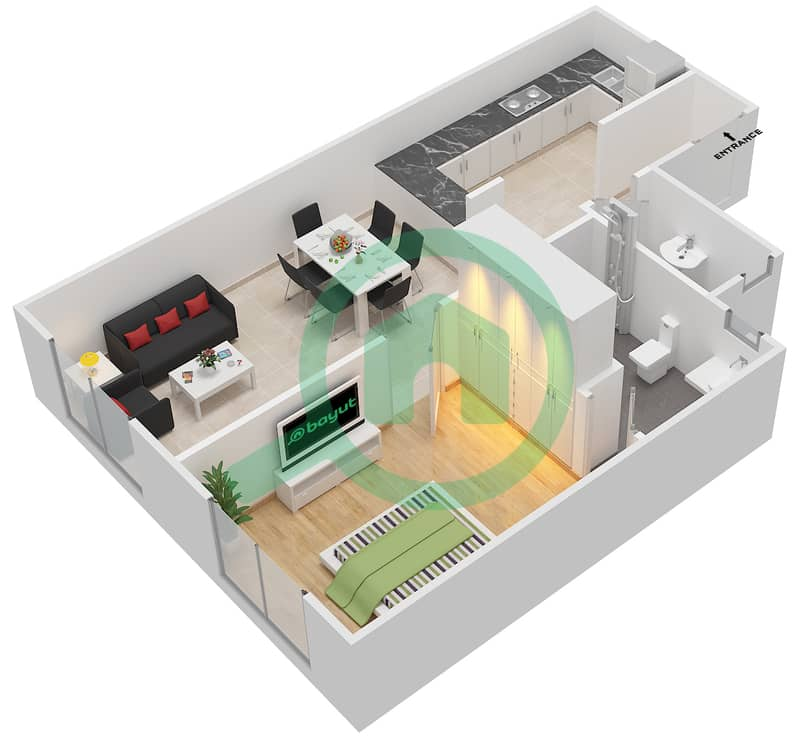 المخططات الطابقية لتصميم الوحدة 6 شقة 1 غرفة نوم - لا ريزيدينس Ground Floor interactive3D