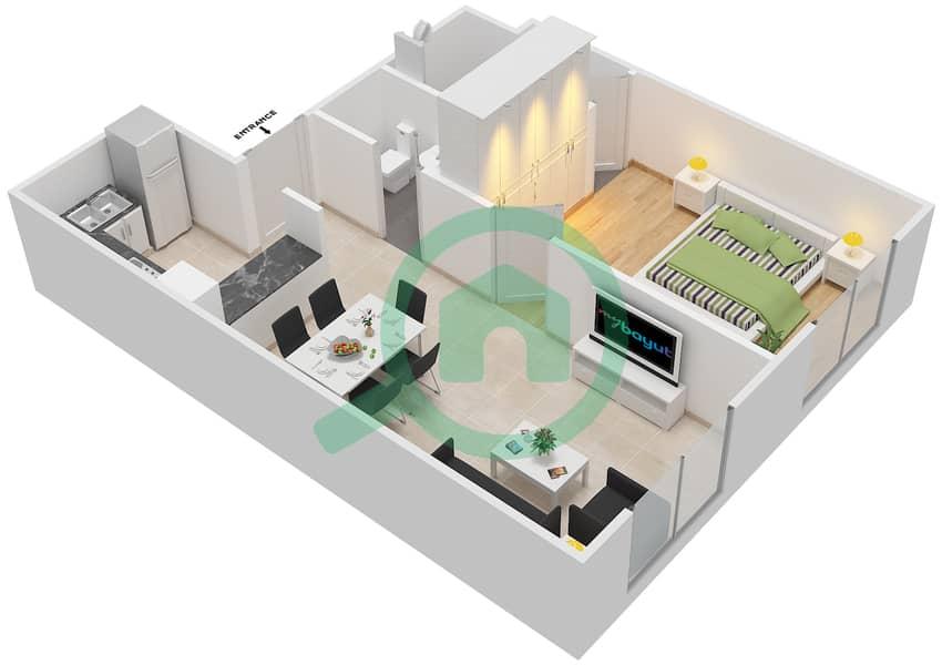 المخططات الطابقية لتصميم الوحدة 9 شقة 1 غرفة نوم - لا ريزيدينس Ground Floor interactive3D