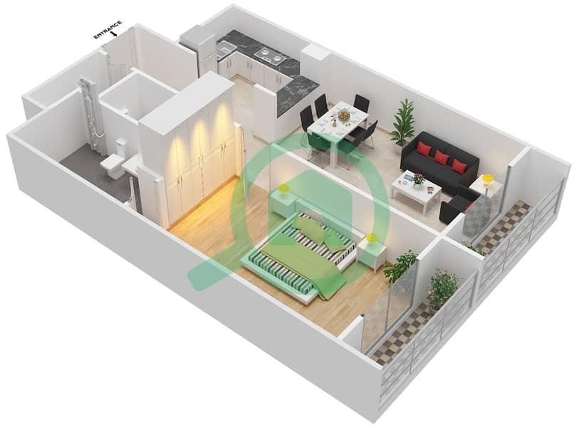 المخططات الطابقية لتصميم الوحدة 406 شقة 1 غرفة نوم - لا ريزيدينس Floor 4 interactive3D