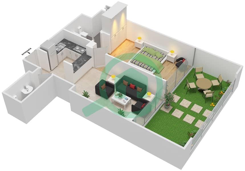 المخططات الطابقية لتصميم الوحدة 402 شقة 1 غرفة نوم - لا ريزيدينس Floor 4 interactive3D