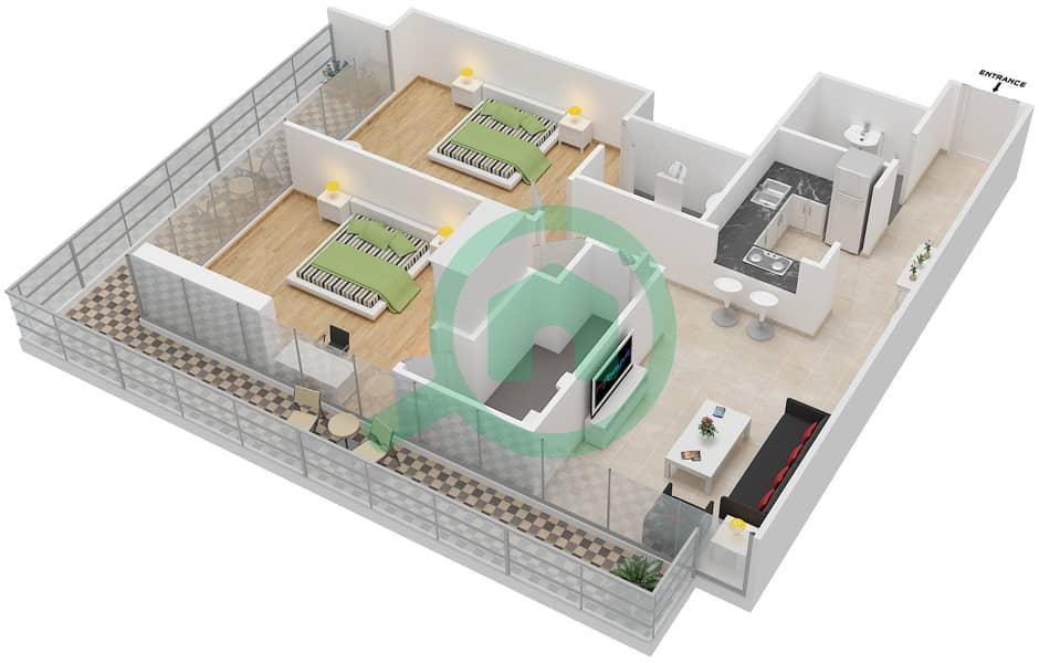 المخططات الطابقية لتصميم الوحدة 102-302 شقة 2 غرفة نوم - لا ريزيدينس Floor 1 interactive3D