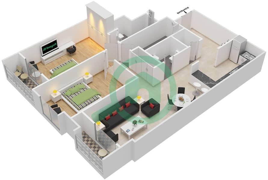 المخططات الطابقية لتصميم الوحدة 115-315 شقة 2 غرفة نوم - لا ريزيدينس Floor 1 interactive3D
