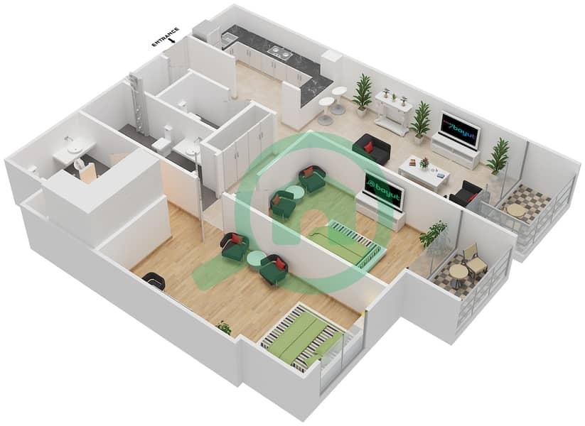 المخططات الطابقية لتصميم الوحدة 116-316 شقة 2 غرفة نوم - لا ريزيدينس Floor 1 interactive3D