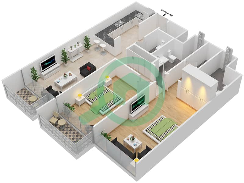 المخططات الطابقية لتصميم الوحدة 117-317 شقة 2 غرفة نوم - لا ريزيدينس Floor 1 interactive3D