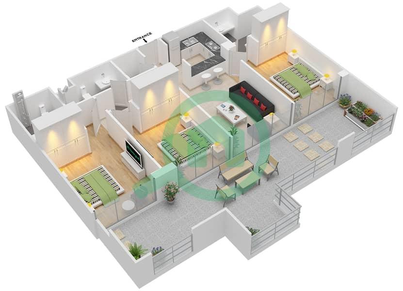 المخططات الطابقية لتصميم الوحدة 413 شقة 3 غرف نوم - لا ريزيدينس Floor 4 interactive3D