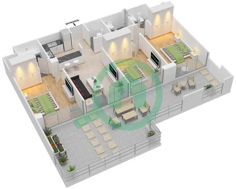 المخططات الطابقية لتصميم الوحدة 404 شقة 3 غرف نوم - لا ريزيدينس Floor 4 interactive3D