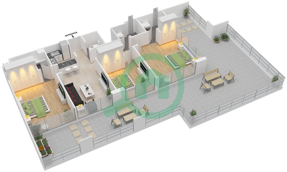 المخططات الطابقية لتصميم الوحدة 401 شقة 3 غرف نوم - لا ريزيدينس Floor 4 interactive3D
