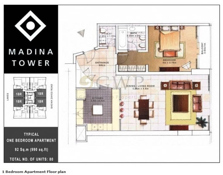 2 Fully Furnished 1-BR  w/ Marina Mall views | Madina Tower