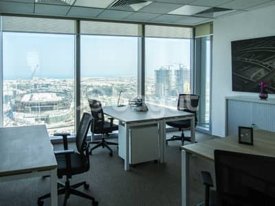 Office for Rent in Downtown Dubai, Dubai - Private Office with breath taking view of Sheikh Zayed road and Jumeirah view