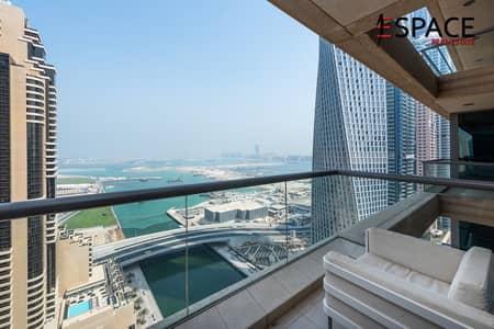 3 Bedroom Flat for Rent in Dubai Marina, Dubai - Sea and Marina View - High Floor - Remodeled