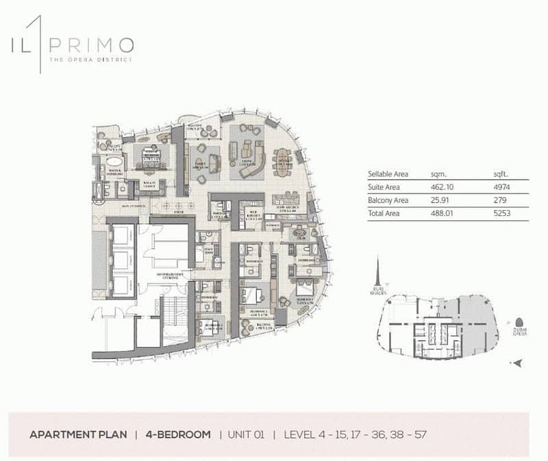 10 Half floor | 4 bed | Full Fountain views