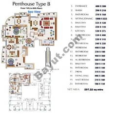 Floors (74-80) Penthouse Type B 4Bedroom