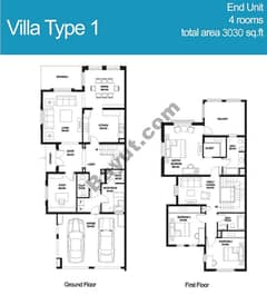 3 Bed Villa Type 1 Floors (1st,Ground)