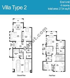3 Bed Villa 1 Type 2 Floors (1st,Ground)
