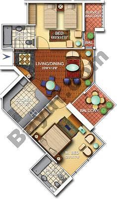 2 Bedroom Nice 2A Floors (3-25)