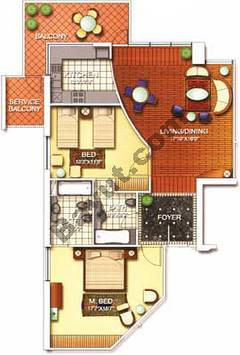 2 Bedroom Nice 2D Floors (3-25)