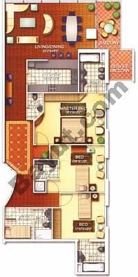 3 Bedroom Cannes 3B Floors (3-25)