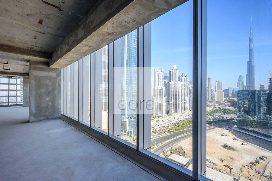 Full office floor with Burj Khalifa view
