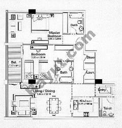 Floorplan 2 Bedroom Type D1