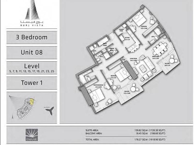 10 Burj Khalifa Facing 3 Bedroom plus Maids