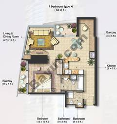 1 Bedroom Apt Type A