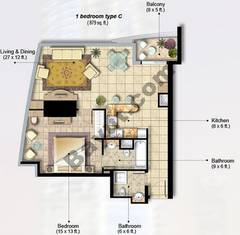 1 Bedroom Apt Type C