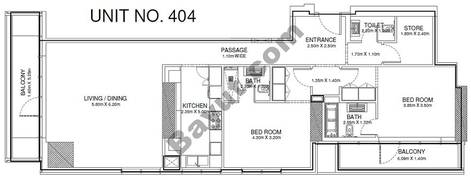 2 Br - Unit 404 - 4th Floor