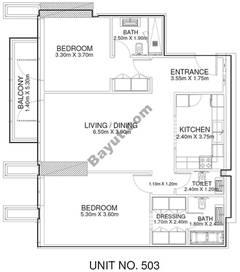 2 Br - Unit 503 - 5th Floor