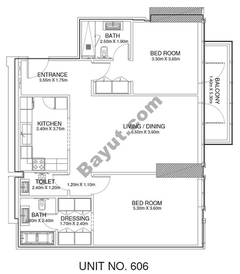 2 Br - Unit 606 - 6th Floor